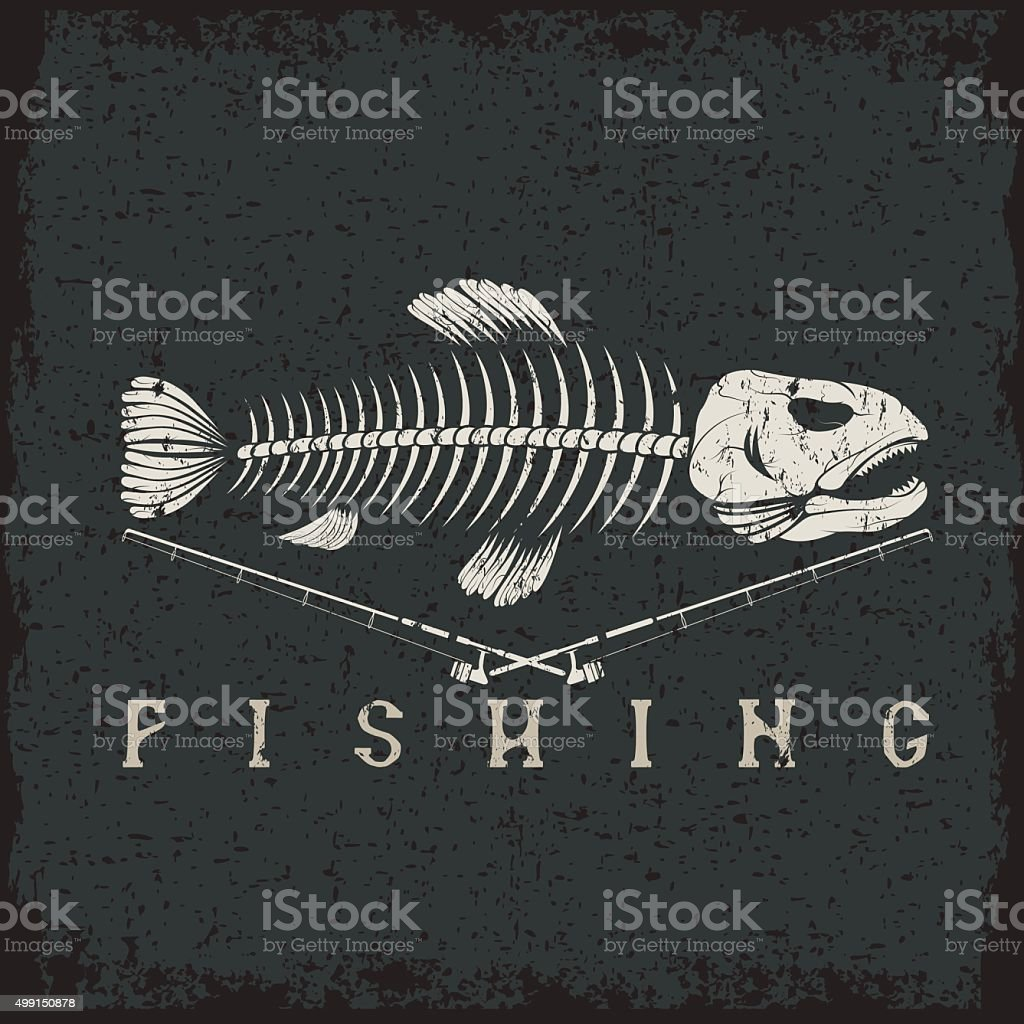 vintage fishing grunge emblem with skeleton of trout vector art illustration