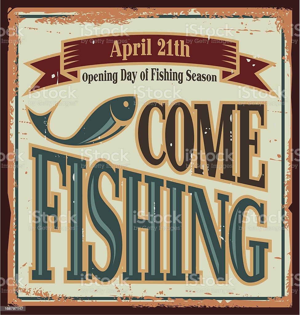 Vintage fishing metal sign royalty-free stock vector art