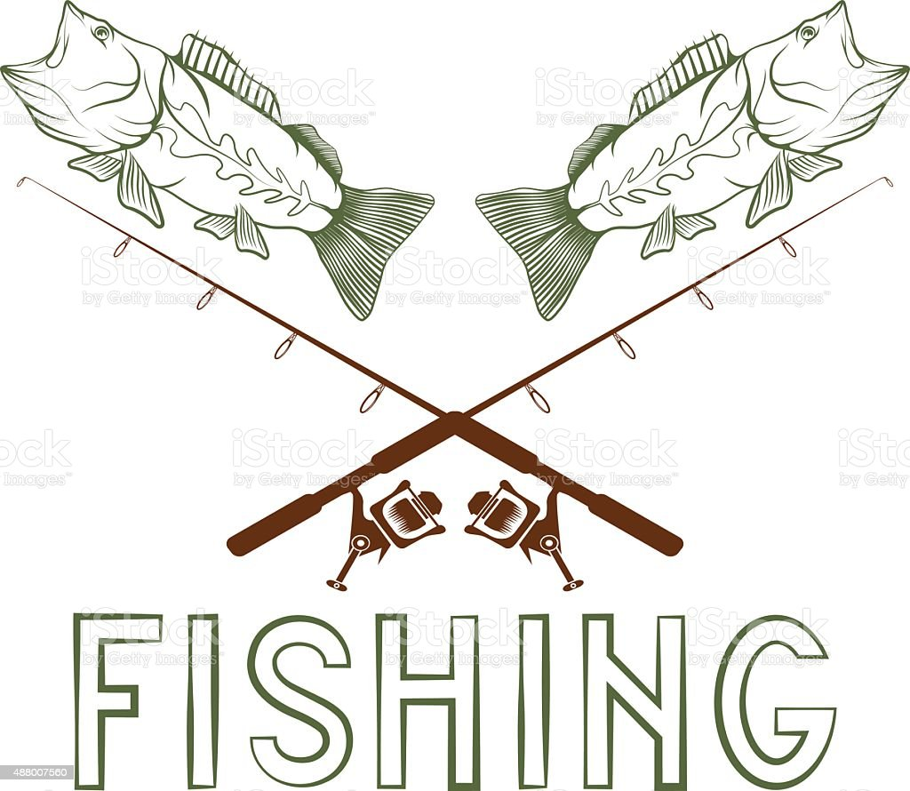vintage fishing vector design template vector art illustration