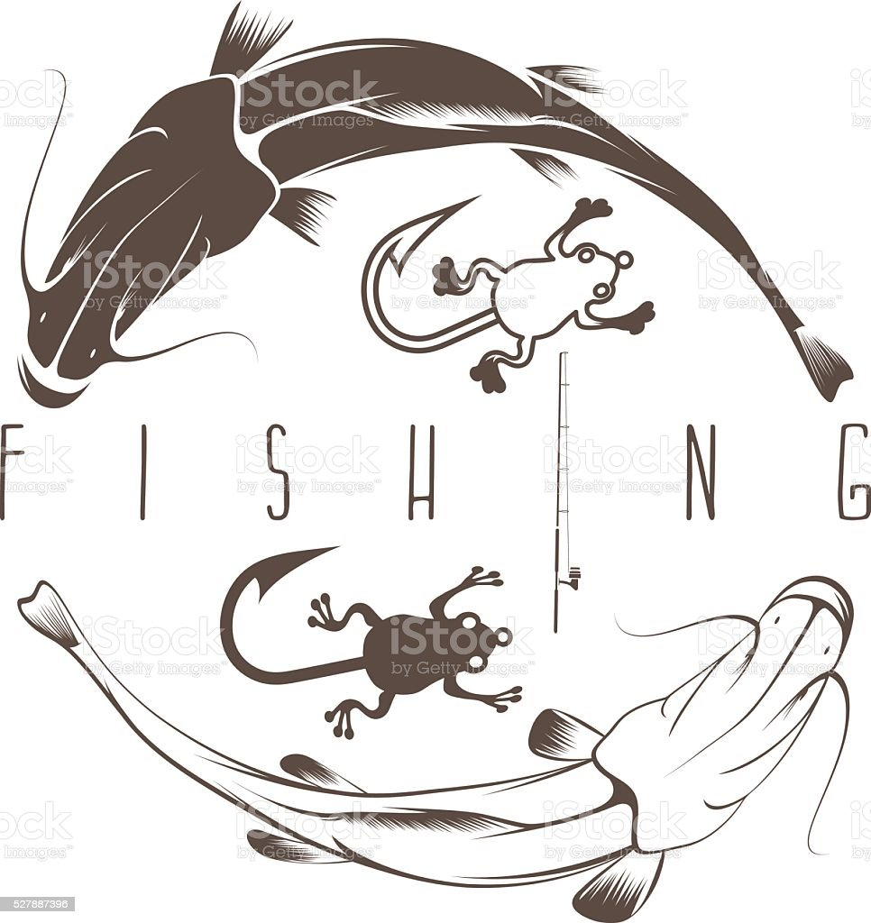 vintage fishing vector design template with catfish vector art illustration