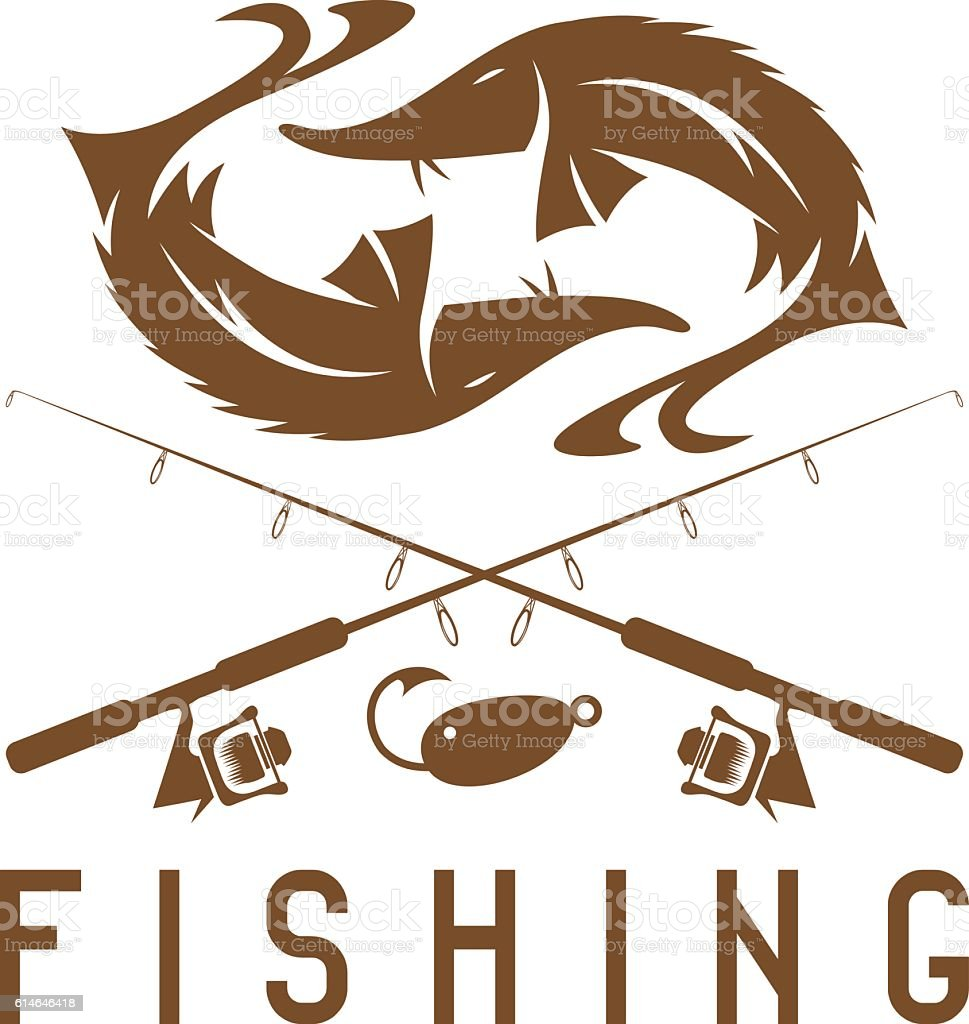 vintage fishing vector design template with sturgeon vector art illustration