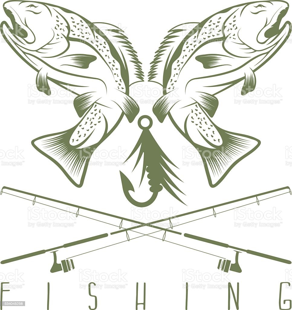 vintage fishing vector design template with trout vector art illustration