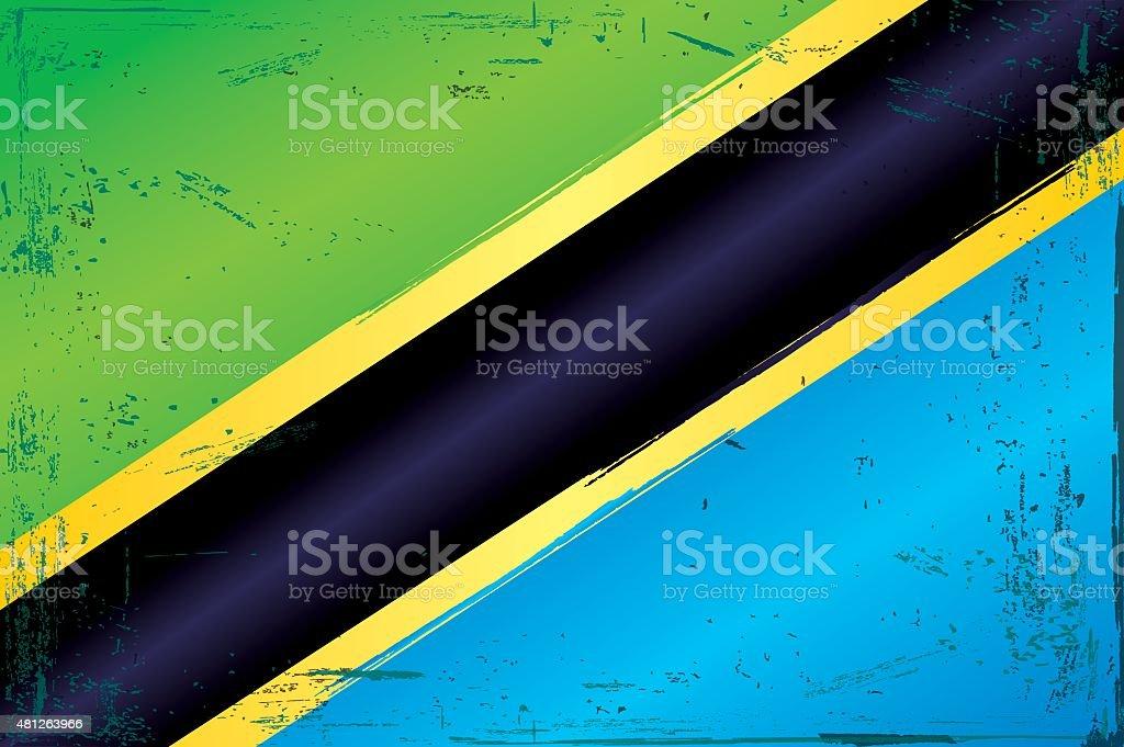 Vintage Flag of Tanzania vector art illustration
