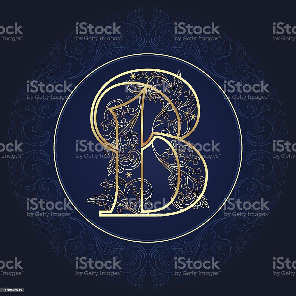 Vintage floral alphabet letter B royalty-free stock vector art
