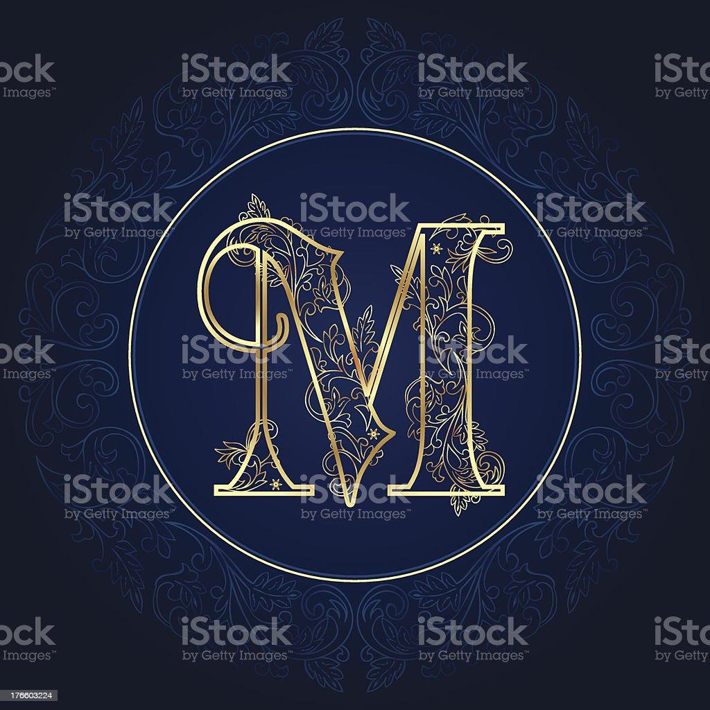 Vintage floral alphabet letter M vector art illustration