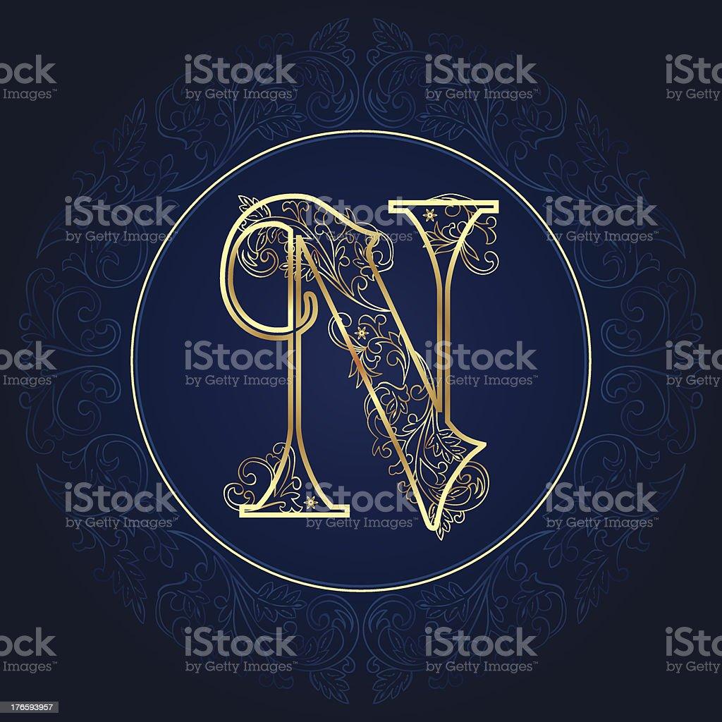 Vintage floral alphabet letter N royalty-free stock vector art