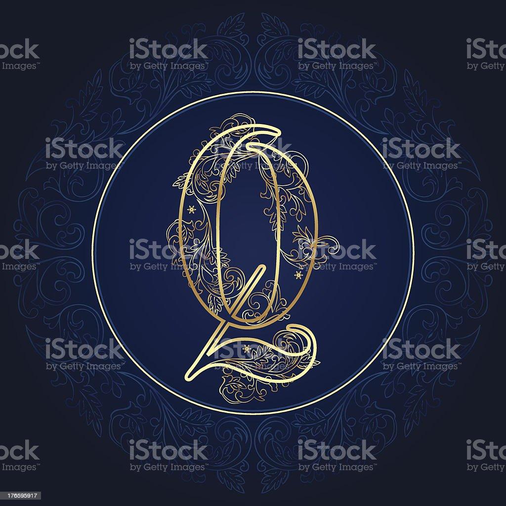 Vintage floral alphabet letter Q royalty-free stock vector art