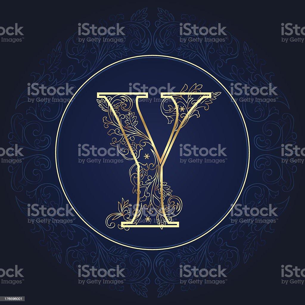 Vintage floral alphabet letter Y royalty-free stock vector art