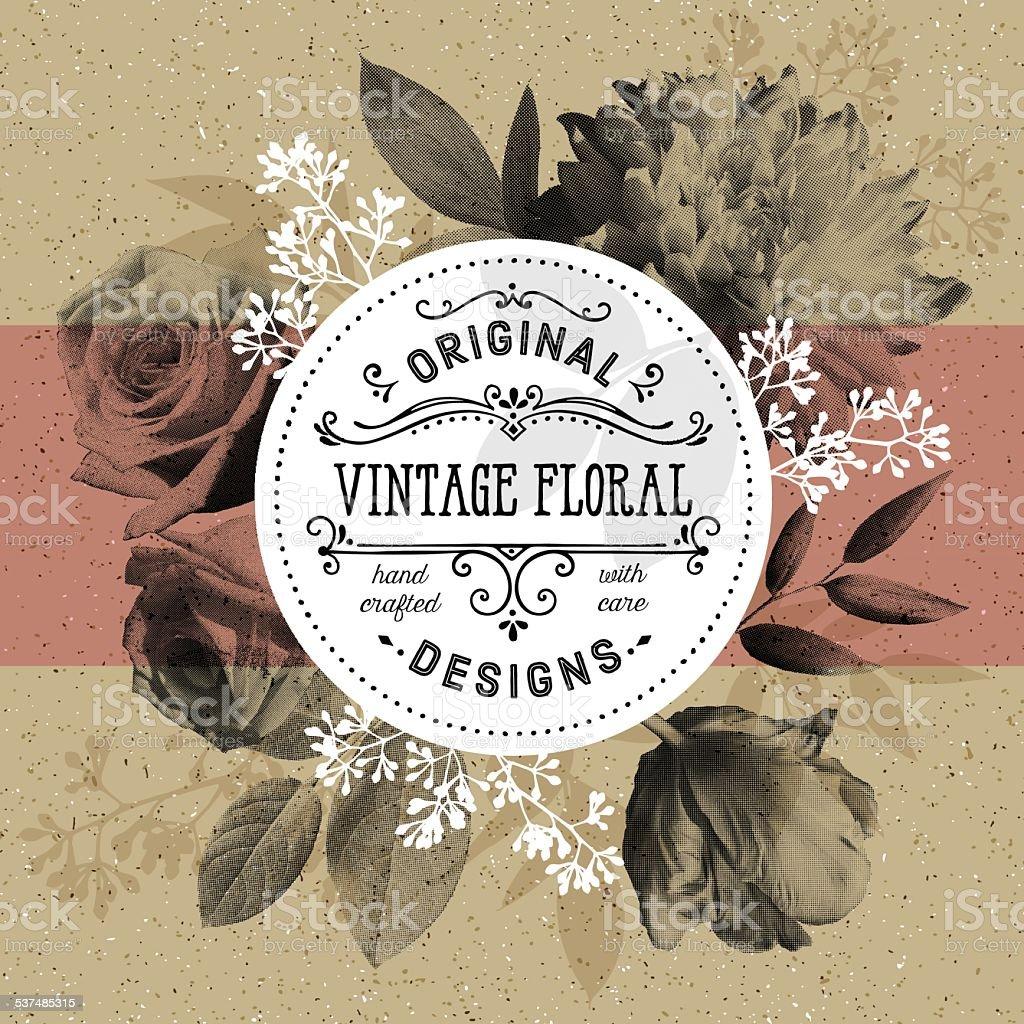 Vintage Floral and Modern Circle Frame Over Craft Paper Background vector art illustration