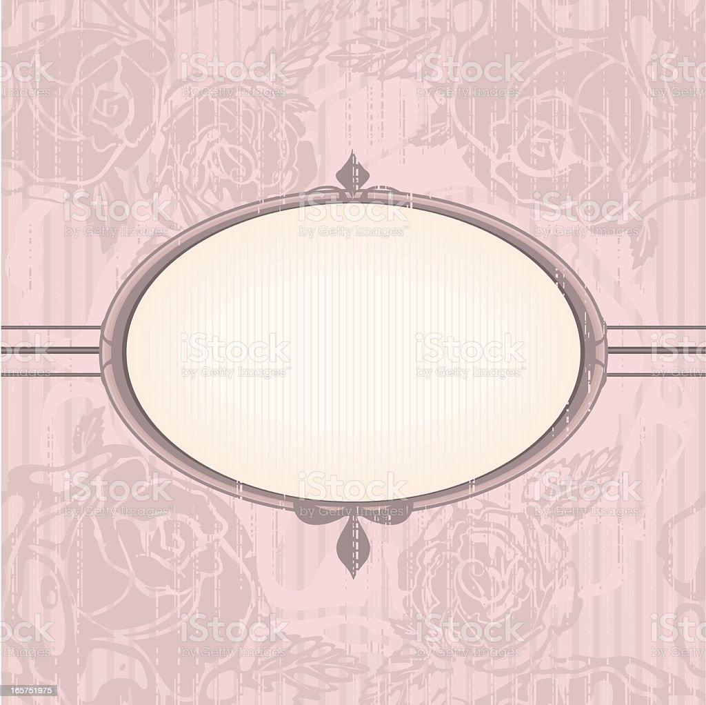 Vintage floral background with oval frame in neutral pink colors vector art illustration