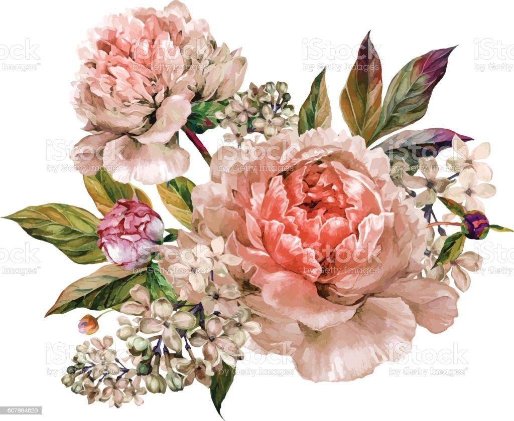 Vintage floral bouquet of peonies vector art illustration