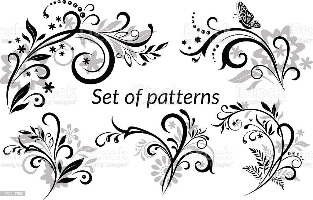 Vintage Floral Calligraphic Patterns vector art illustration