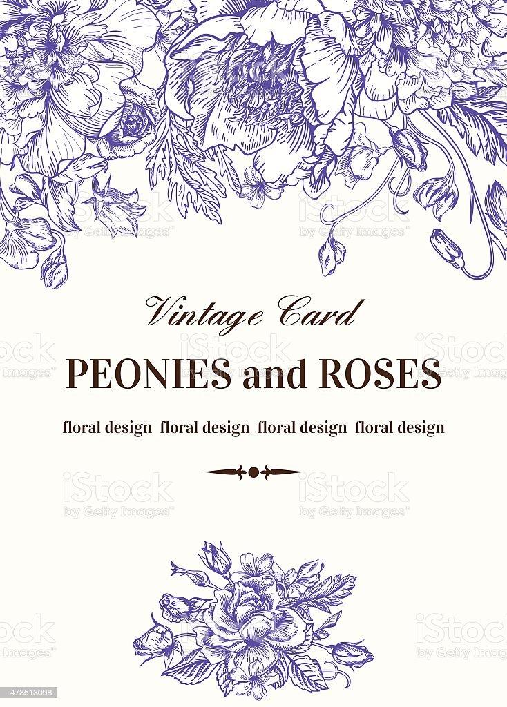 Vintage floral card. vector art illustration