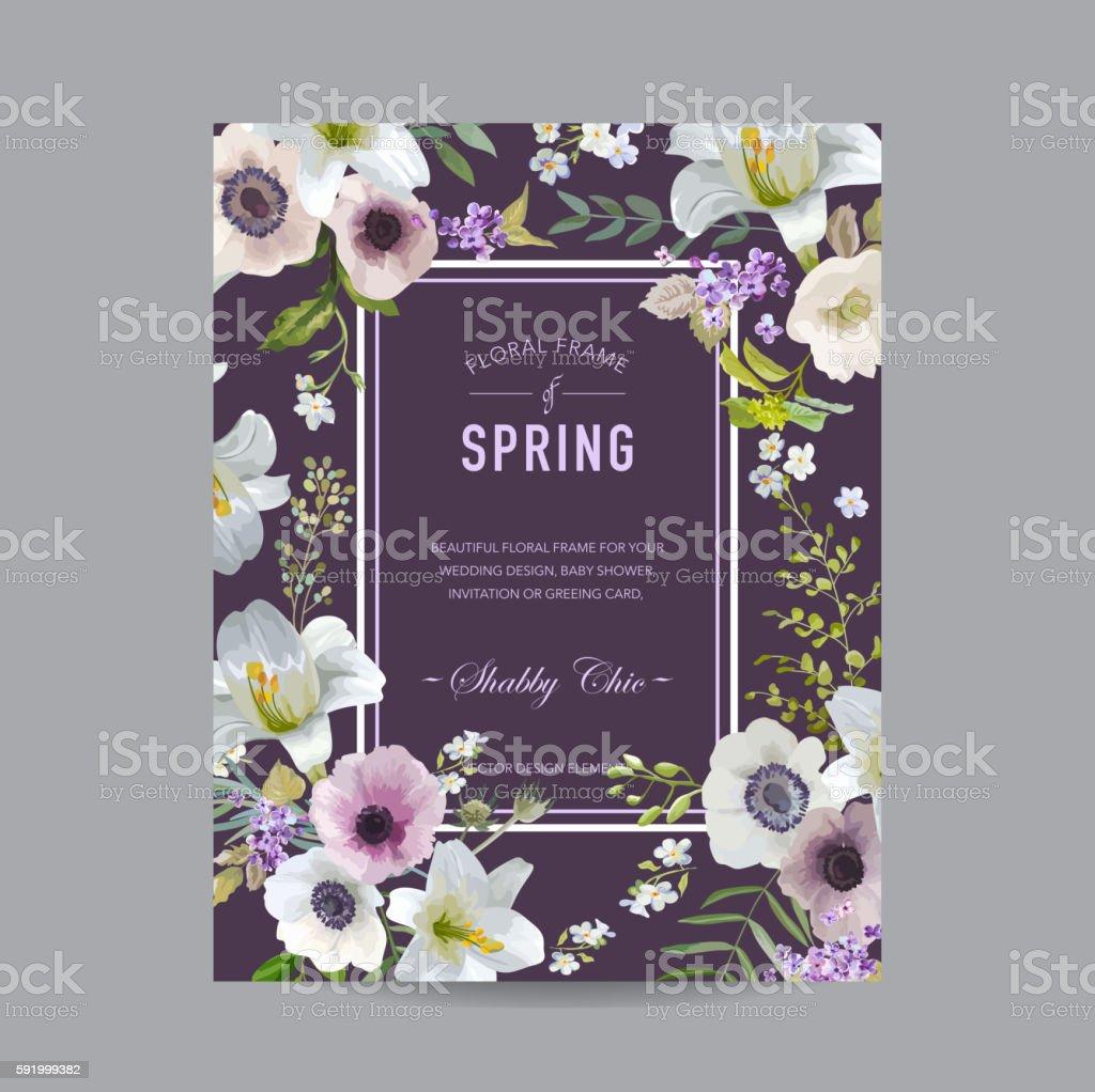 Vintage Floral Colorful Frame - Lilies and Anemones vector art illustration