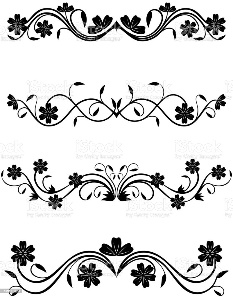 Vintage floral deocrations royalty-free stock vector art