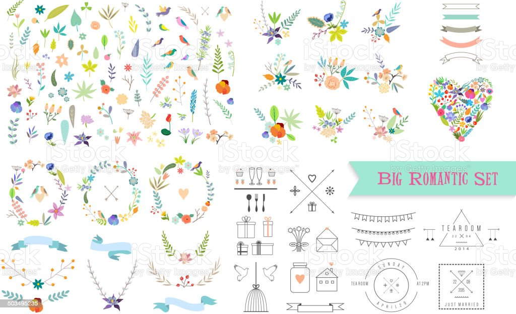 Vintage floral elements. Set of flowers, icons and decorative elements. vector art illustration