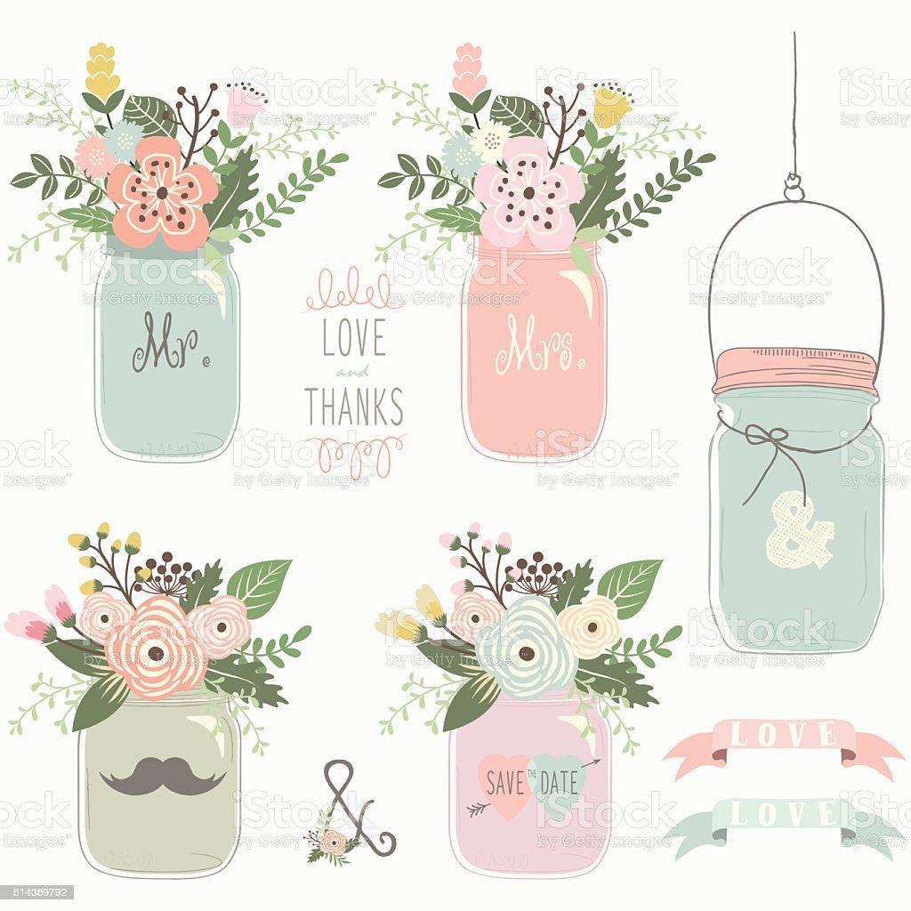 Vintage Floral Mason Jar- Illustration vector art illustration