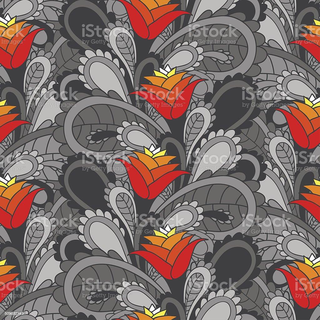 vintage floral seamless background vector art illustration