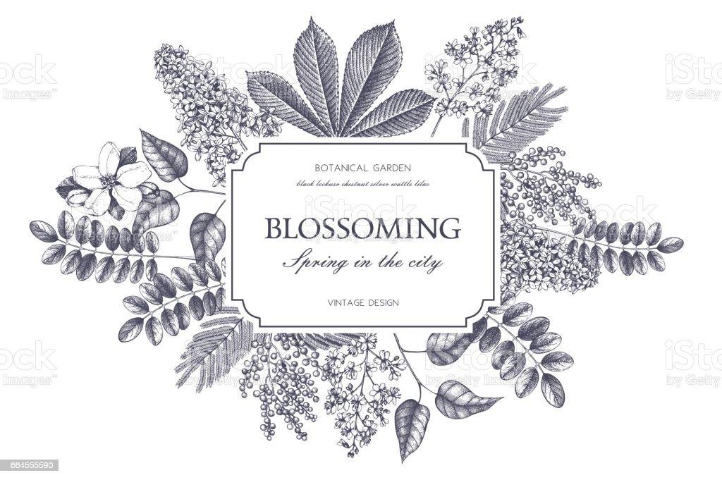 Vintage floral template vector art illustration