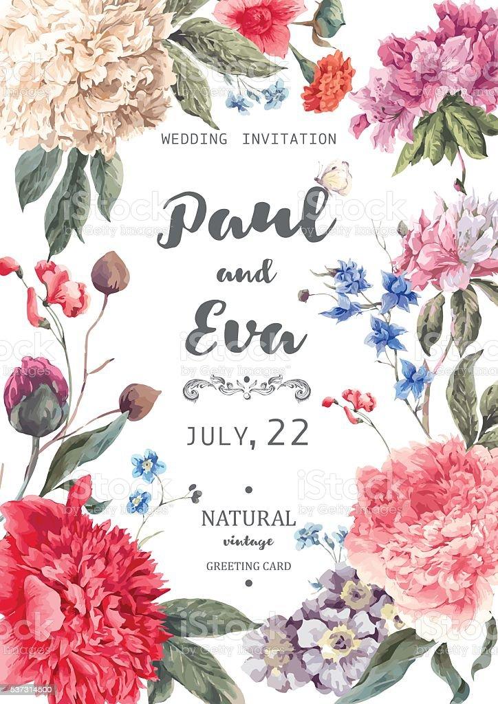 Vintage floral vector wedding invitation vector art illustration