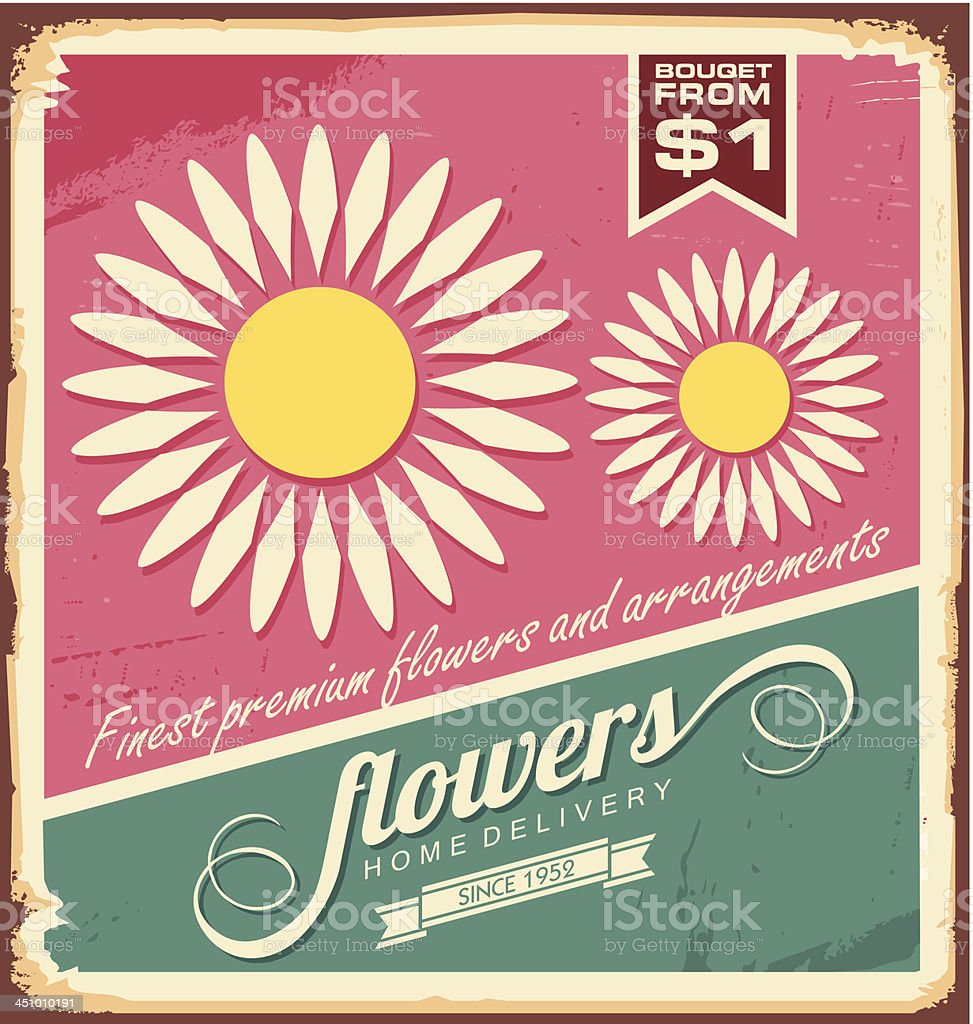 Vintage florist shop sign royalty-free stock vector art