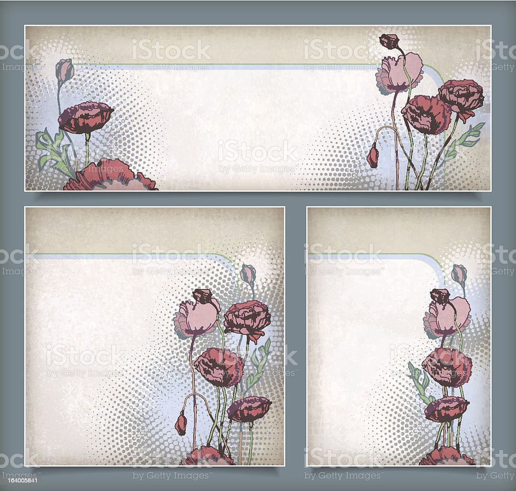 Vintage flower banners in different layout set royalty-free stock vector art
