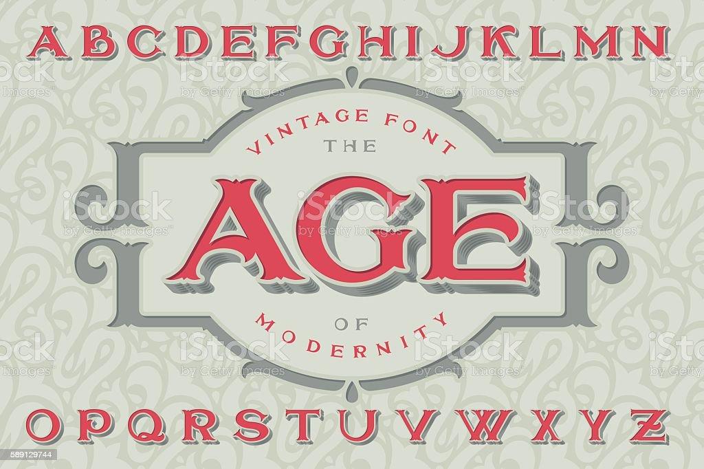 Vintage font 'The Age of Modernity'. vector art illustration