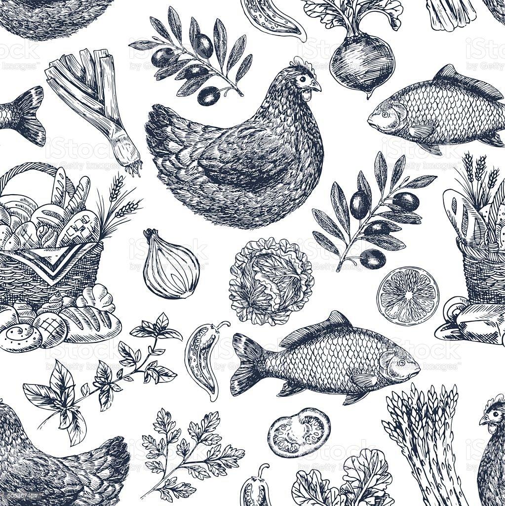 Vintage food background. Different kinds of food. Vector illustration vector art illustration