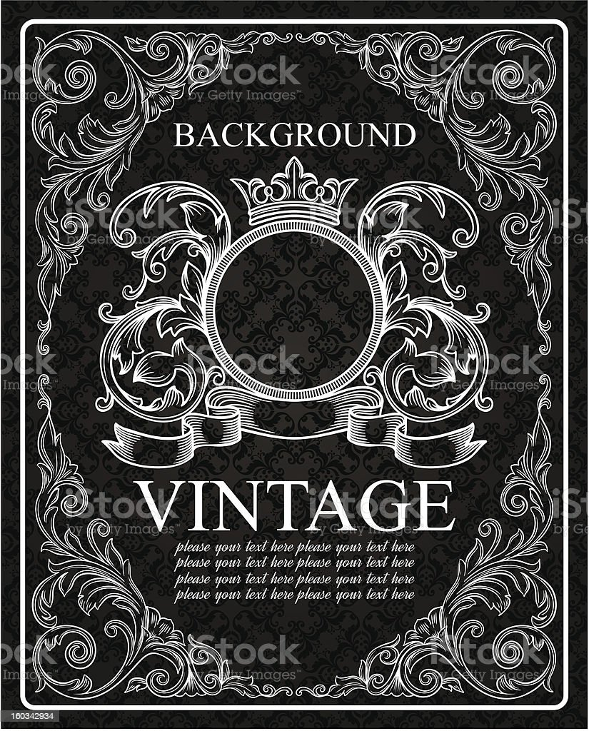 vintage frame and seamless pattern royalty-free stock vector art
