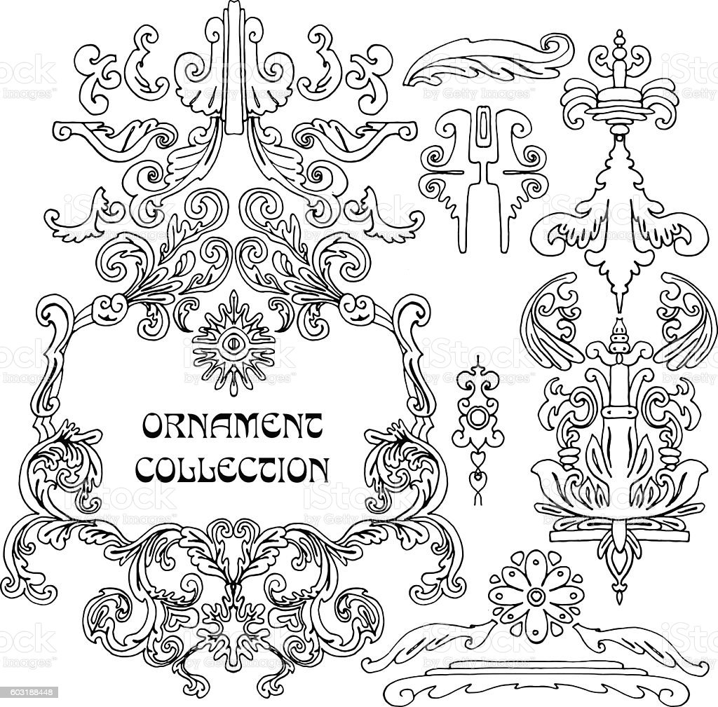 Vintage Frame collection with Flowers vector art illustration