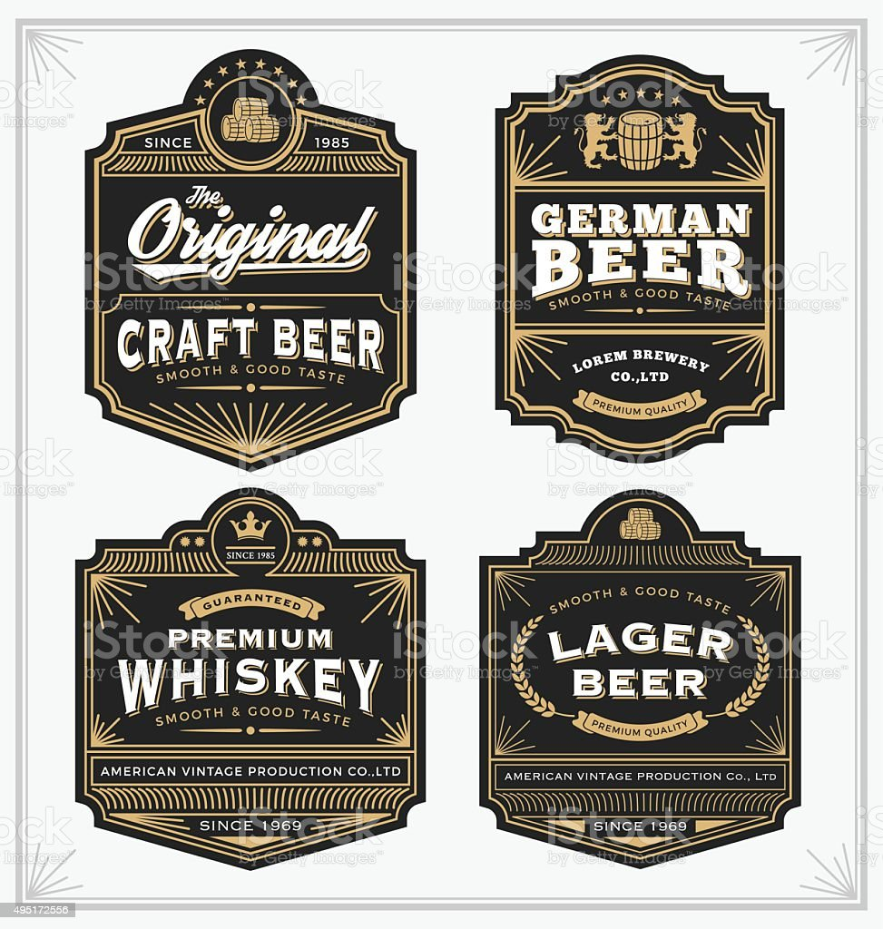 Vintage frame design for labels, banner, sticker vector art illustration