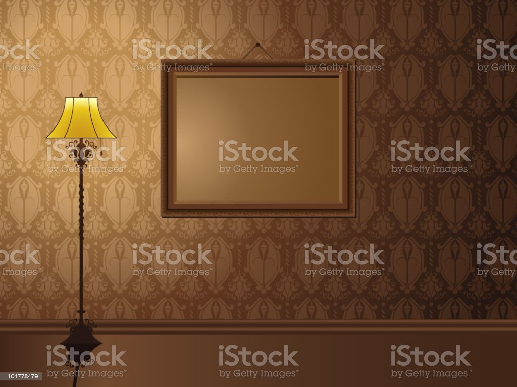 Vintage Frame hanging on wall with antique lamp. vector art illustration