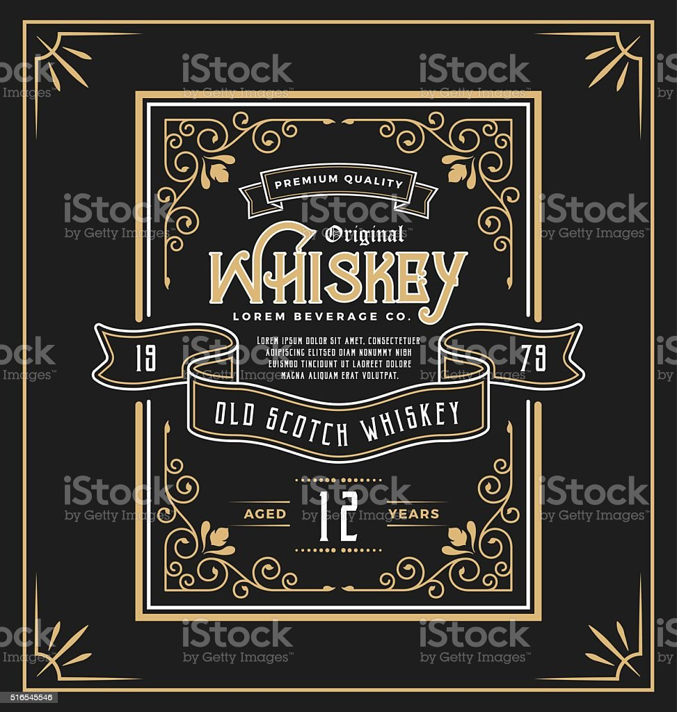Vintage frame label for whiskey and beverage product vector art illustration