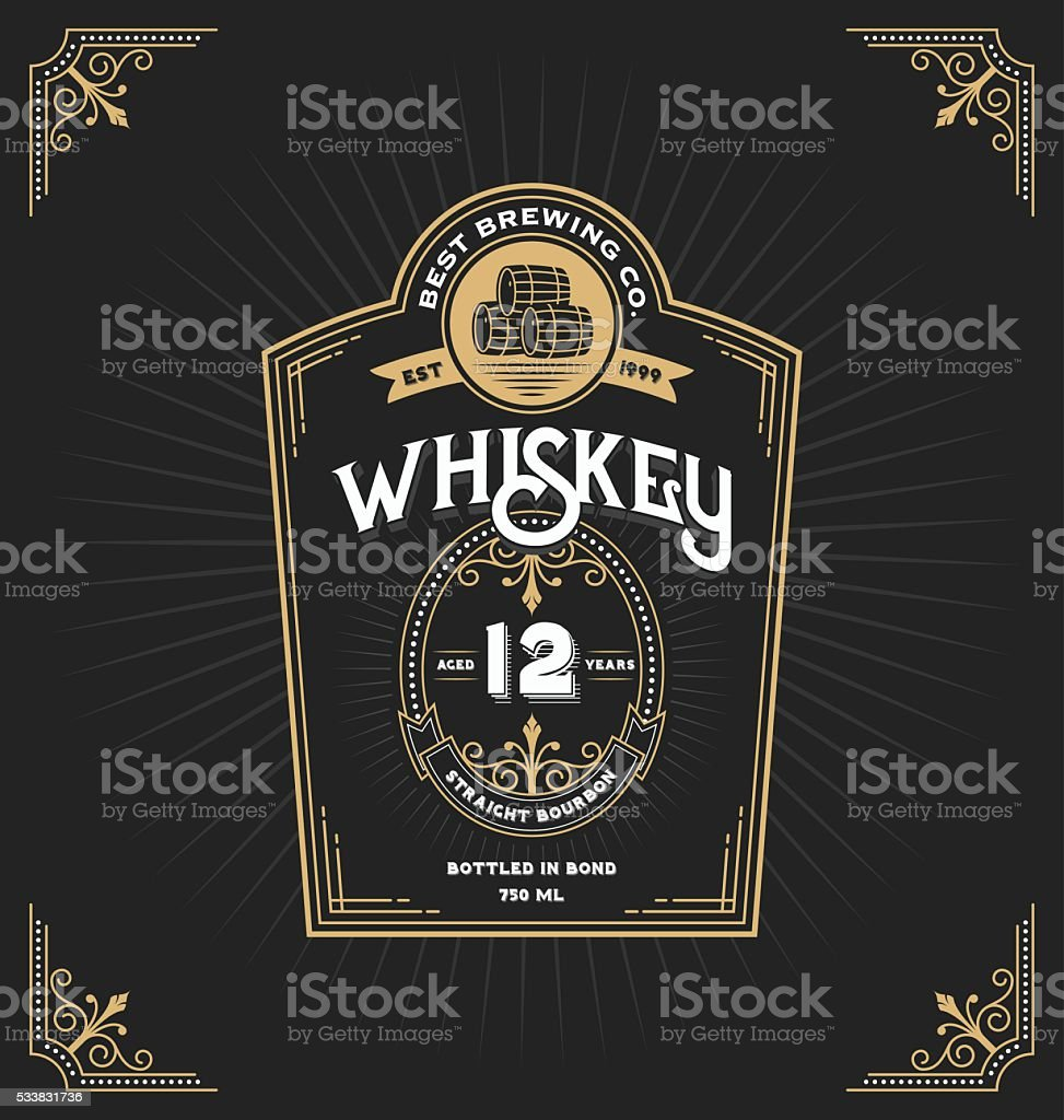 Vintage frame label for whiskey and beverage vector art illustration