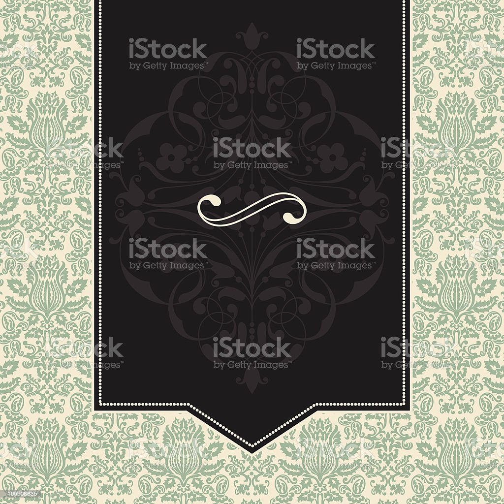 Vintage Frame on Damask Background royalty-free stock vector art