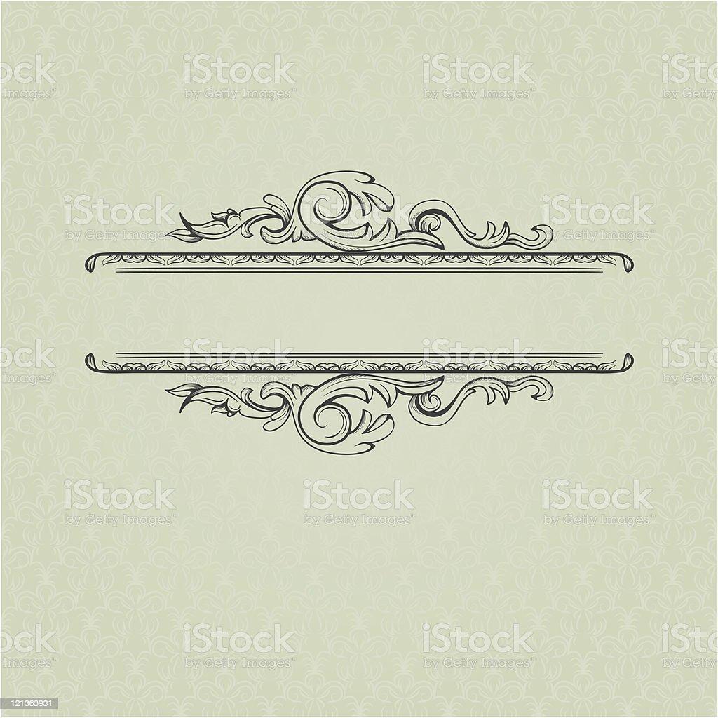 Vintage frame on seamless damask background royalty-free stock vector art