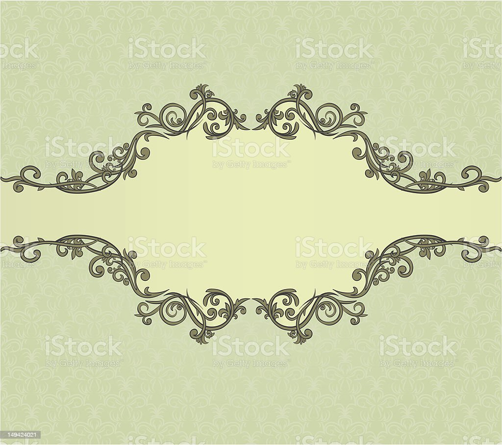 Vintage frame on seamless damask background royalty-free stock vector art