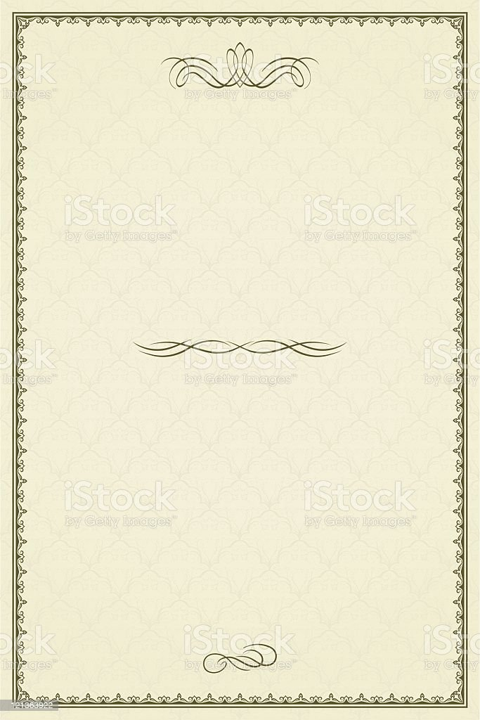 Vintage frame or blank for diploma on damask background royalty-free stock vector art