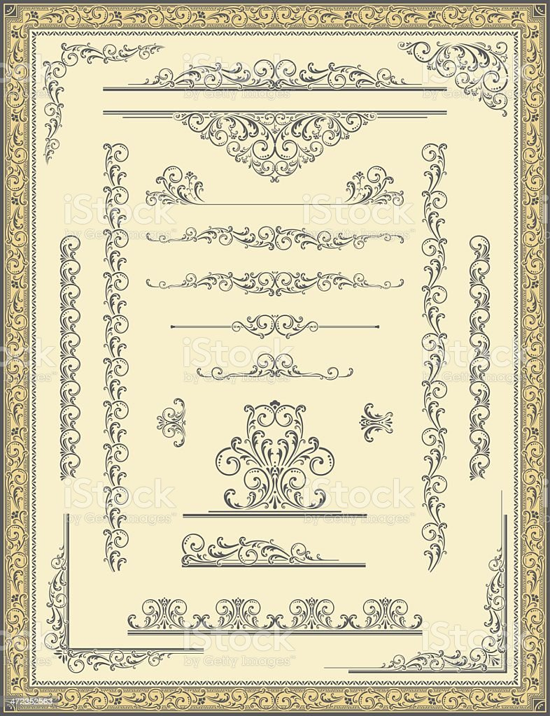 Vintage Frame, Scroll Elements and Corners royalty-free stock vector art