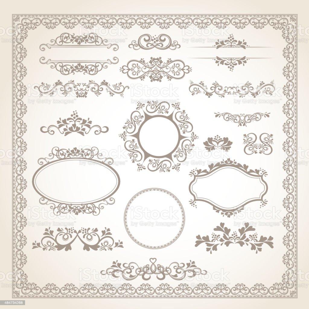 vintage frame set vector art illustration