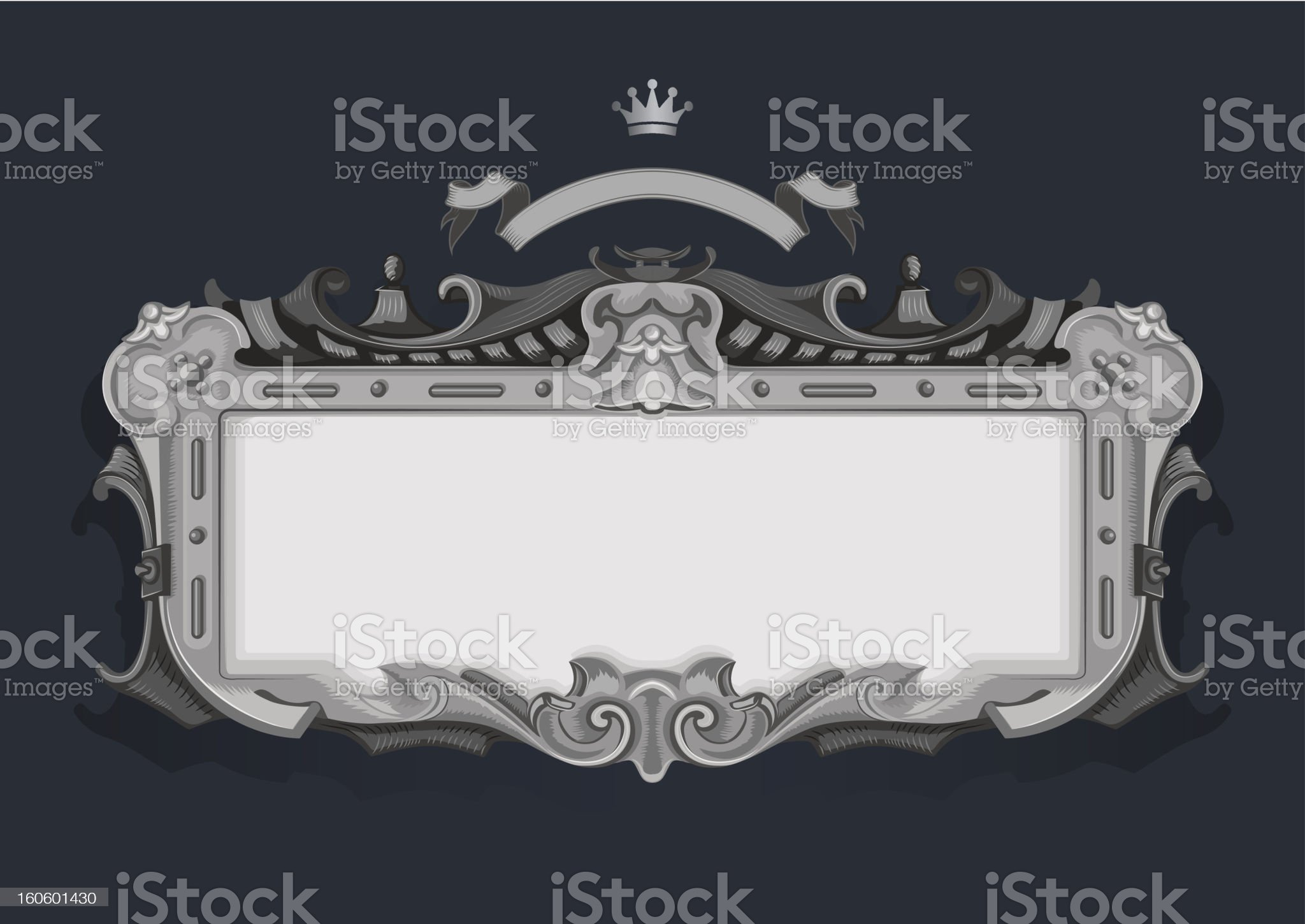 Vintage frame. Silver floral vector ornament. royalty-free stock photo