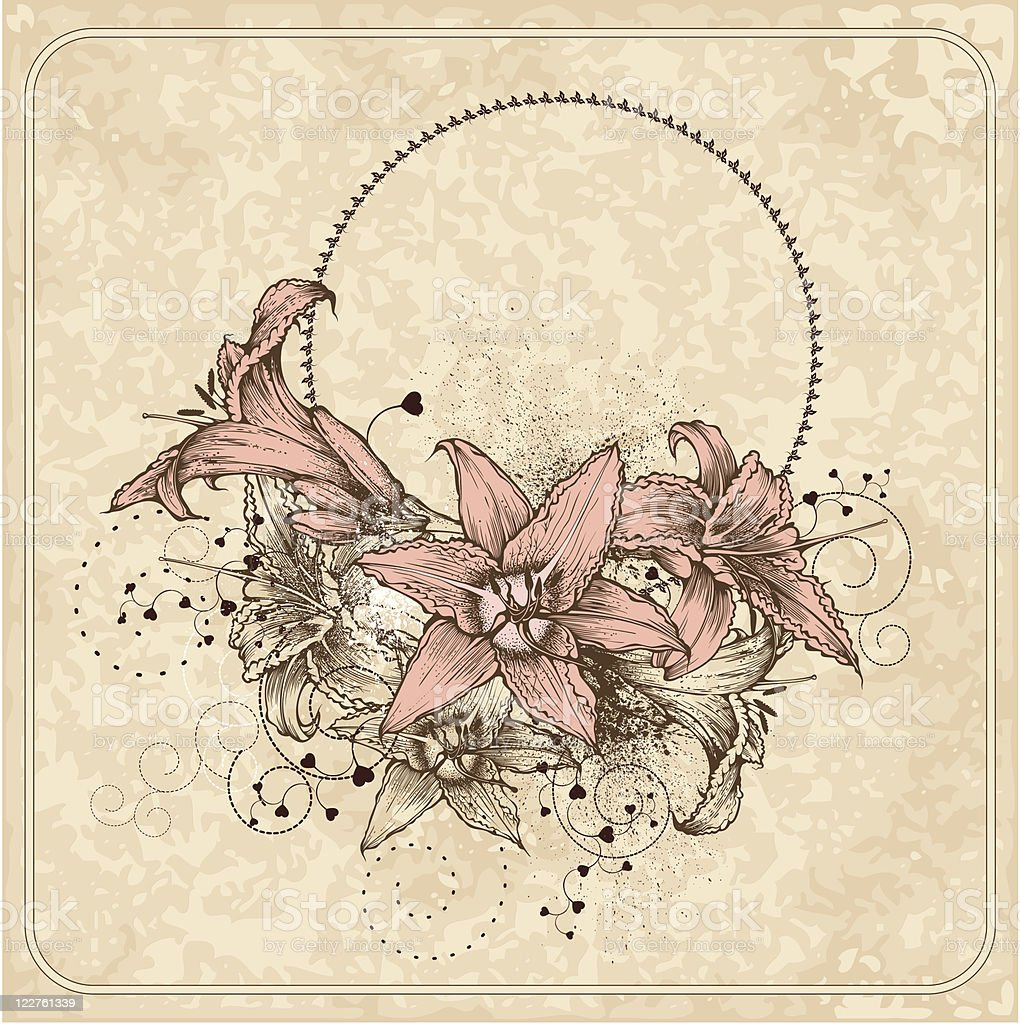 Vintage frame with blooming lilies and heart royalty-free stock vector art