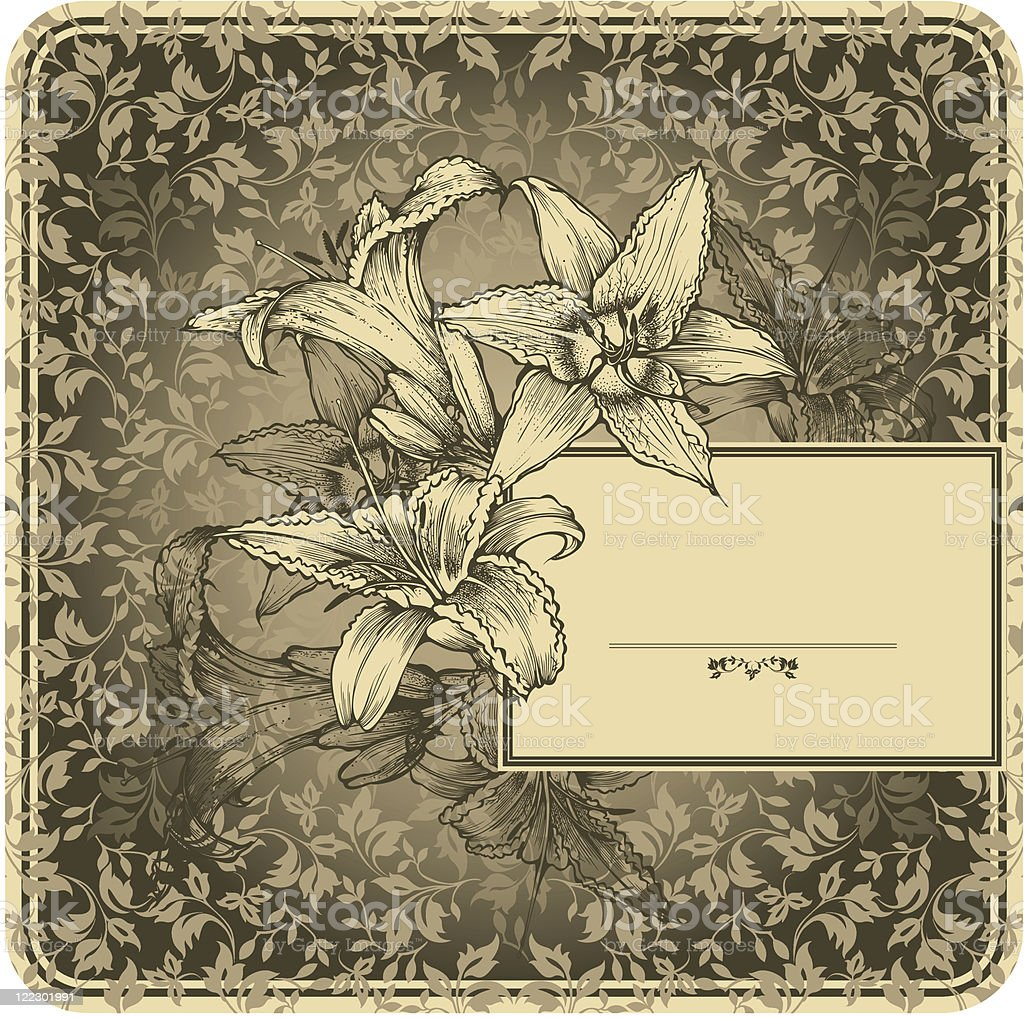 Vintage frame with blooming lilies royalty-free stock vector art