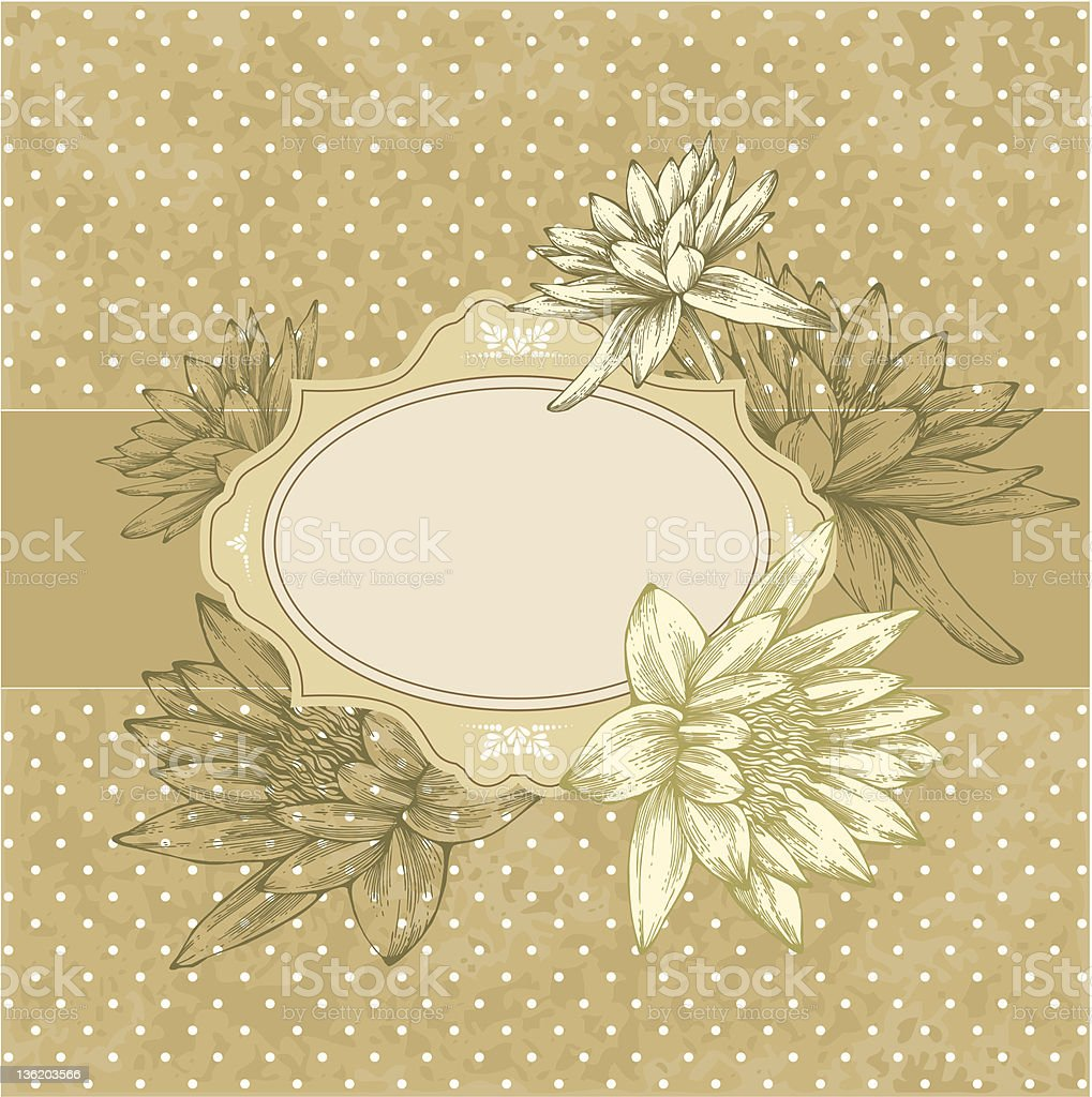 Vintage frame with blooming water lilies, hand-drawing. royalty-free stock vector art