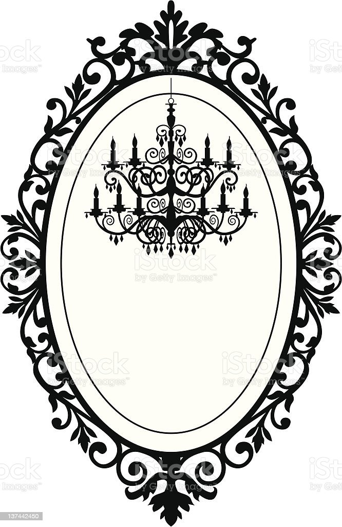 Vintage frame with chandelier vector art illustration