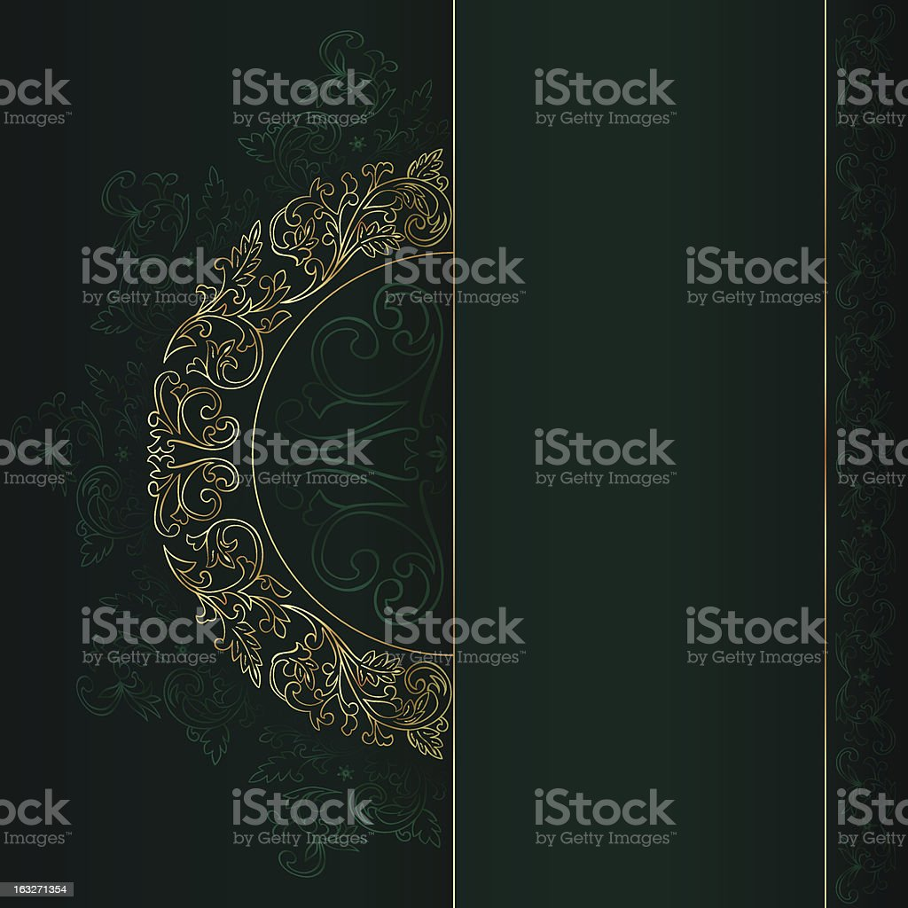 Vintage frame with gold floral elements on green background royalty-free stock vector art