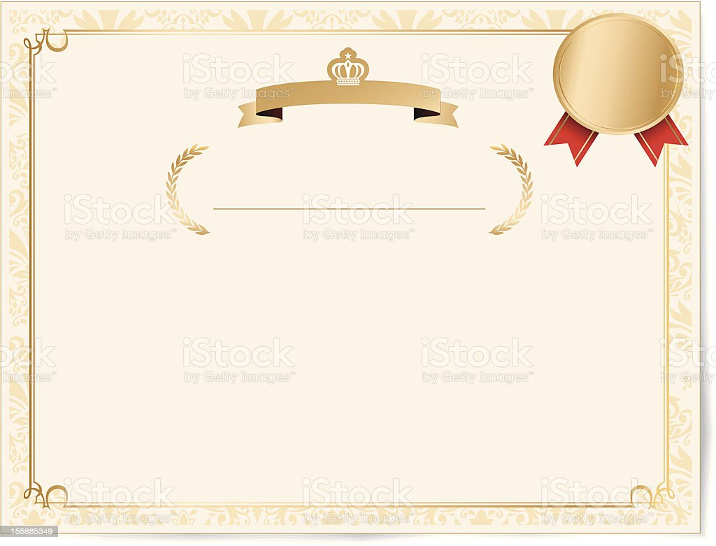 Vintage frame with Gold Seals medals royalty-free stock vector art