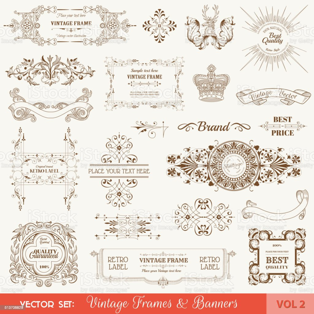 Vintage Frames and Banners, Calligraphic Design Elements vector art illustration