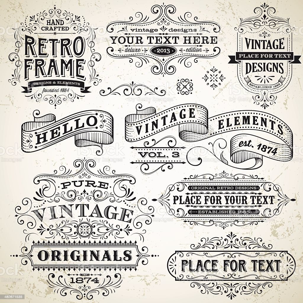 Vintage Frames and Design Elements vector art illustration