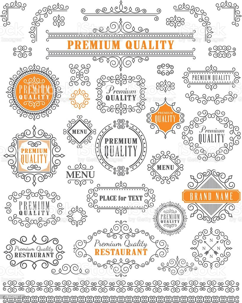 Vintage Frames and Elements vector art illustration